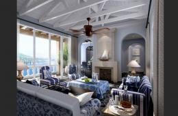 Средиземноморский стиль в интерьере   Light blue living room interior 3D design 260x170