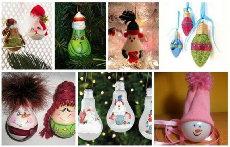 новогодние игрушки из лампочек