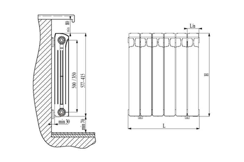 размещение радиатора возле стены